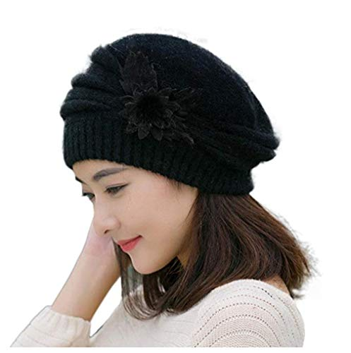 BabyPrice Women's Winter Beret Hat Fleece Lined Soft Warm Beanie Cap with Flower Accent