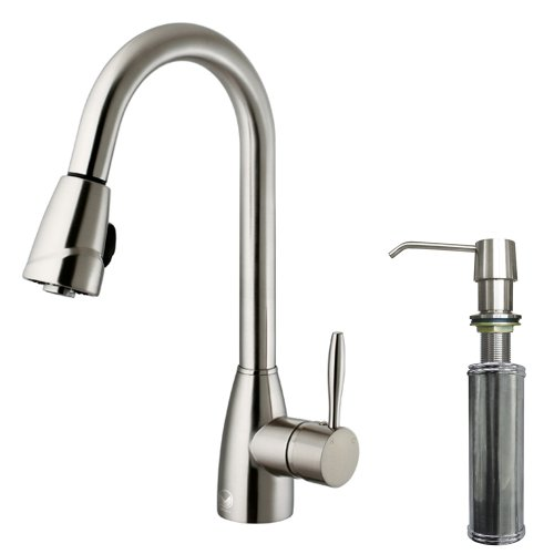 UPC 816686011083, VIGO Graham Single Handle Pull-Down Spray Kitchen Faucet with Soap Dispenser, Stainless Steel