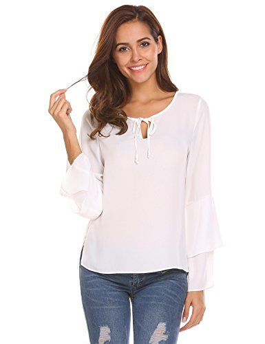 Zeagoo Women Layered Bell Sleeve Ruffle Blouse Casual Solid Tee Shirts White L