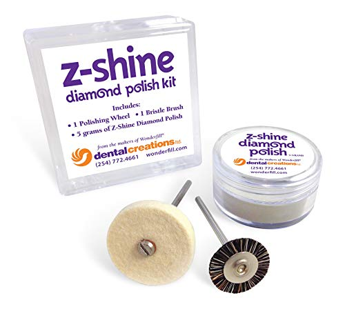 "Dental Creations Z Shine Diamond Polishing Kit - Zirconia Polishing Paste - High Shine Dental Restoration Polish -Includes 5 Gram Jar of Diamond Polish, 11 Soft Bristle Brush Wheel and 1"" x 1/8"" Felt"