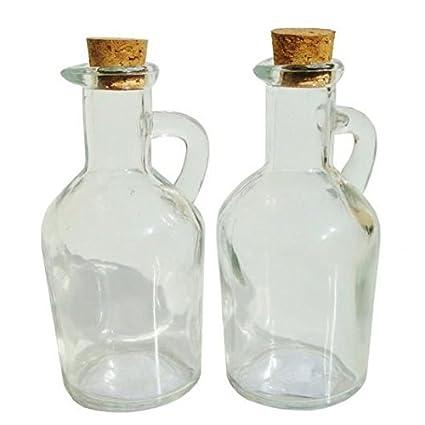 Pack de 2 botellas de vidrio pequeñas con tapones IBILI-Tapón para botella de aceite