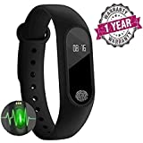 Tygot M2 Bluetooth Intelligence Waterproof Fitness Smart Band with Heart Rate Sensor/Pedometer/Sleep Monitoring for All Android, iOS and Windows Device