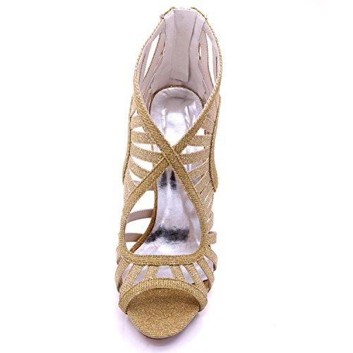 Las Alto Zapatos La Red Del Tacón Abiertas Nupcial De 03c Verano Mujeres Cremallera L Satén yc 7216 xq8BxEg1