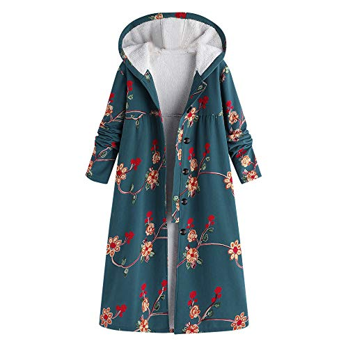 Limsea Women Coat Outwear Plus Size Button Hooded Cotton Linen FluffyPrint LongGreen Large for $<!--$20.83-->