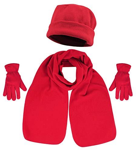 (3 Piece Hat, Scarf & Glove Women's Winter Set,Red)