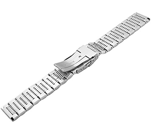 Solid Stainless Steel Watch Bracelet Mesh Band Wristband 22mm Silver with Push Button Deployment Clasp by Kai Tian (Image #4)