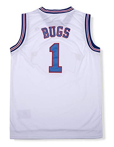 Oknown Bugs 1 Space Men's Movie Jersey Basketball Jersey White L ()