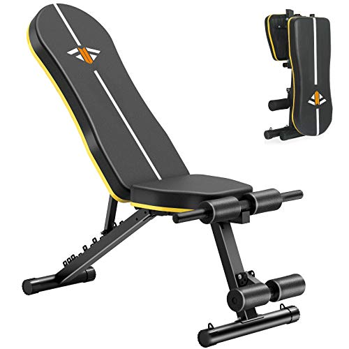 Adjustable Weight Bench for Full Body, Workout Bench with 7 Positions and Wider Backrest/Seat Home Gym Bench , Strength…