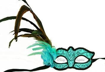 amazon com halloween masquerade mask baby blue turquoise feather