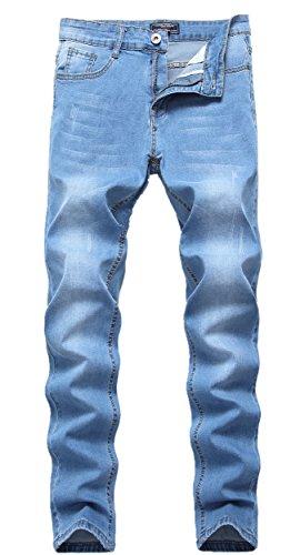 FREDD MARSHALL Men's Skinny Slim Fit Stretch Straight Leg Denim Jeans,Light (Fashion Designer Jean)