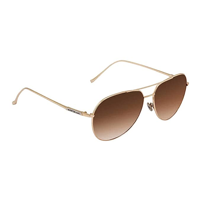 Amazon.com: Gafas de sol Mont Blanc MB 657 S 32F Gold/Brown ...