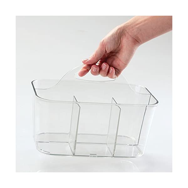 mDesign Plastic Storage Caddy Tote for Sewing & Craft Supplies, Clear