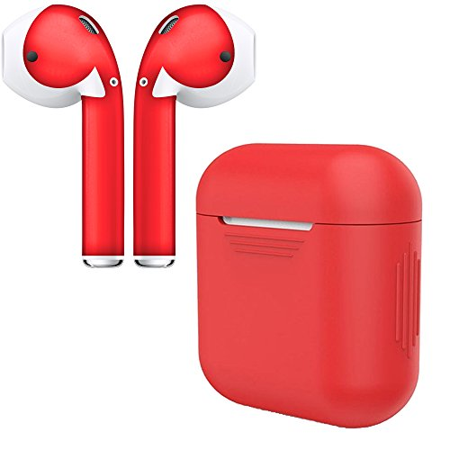 AirPod Skins & Charging Case Cover - Protective Silicone Cover and Stylish Wraps Bundle Compatible with Apple AirPods (Red Case & Red Skin)