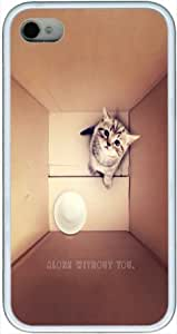 Lonely Cat Soft Rubber Case for Iphone 4, 4S Case - Retail Packaging - TPU White