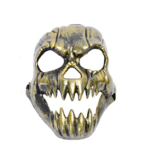Really Really Scary Costumes (Tinksky Halloween Costumes Mask Scary Creepy Horrible Ghost Face Mask Costume Prop For Masquerade Make-up Party (Golden))