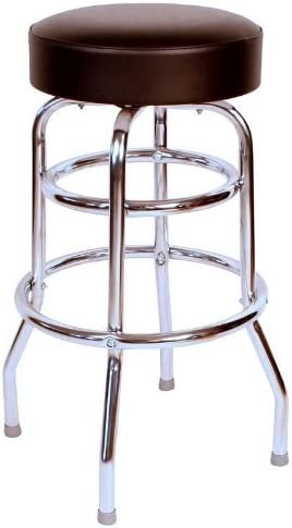 Richardson Seating Double Rung Backless Swivel Bar Stool with Chrome Frame, Black