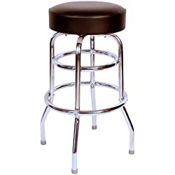 Richardson Seating 0-1952BLK Double Rung Backless Swivel Bar Stool with Chrome Frame, Black
