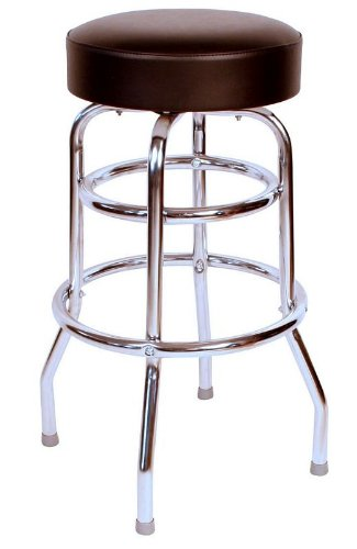 Richardson Seating 0-1952BLK Double Rung Backless Swivel Bar Stool with Chrome Frame, Black ()