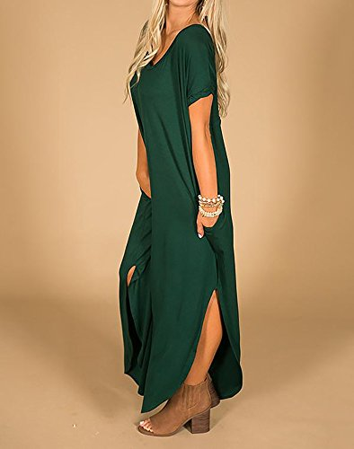 Blackish with Short Loose Casual Sleeve Dresses Womens Pockets Green Side Maxi Fitting Imysty Split Long xOwPn