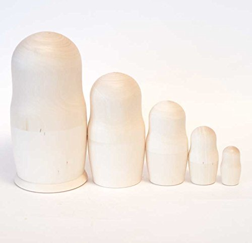 Blank Nesting dolls 5 * Unpainted nesting doll * Montessori stacking dolls * Make your own project * art and Craft kit * Blank nesting dolls wooden *