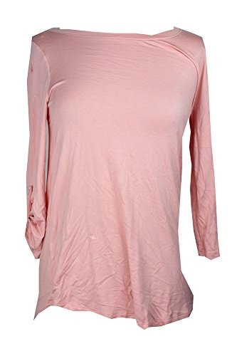 (Cable & Gauge Women's Blossom Jewel Neckline Knit T-Shirt Top Tab Sleeves $40 XL)