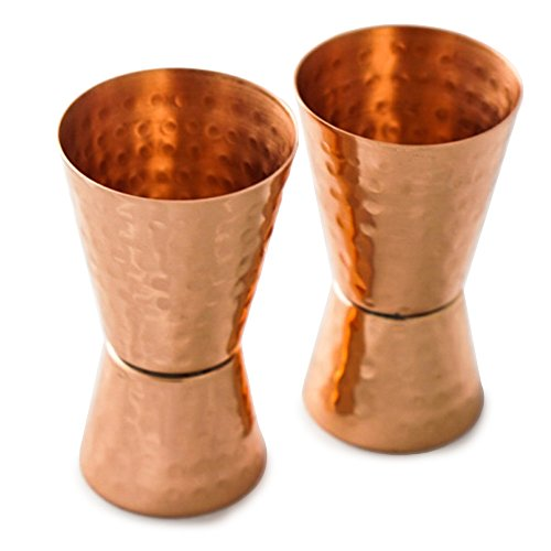 Double Jigger Bar Shot Glasses - Set of 2 Solid Copper Hammered (1oz/2oz) by Drinkware Essentials.