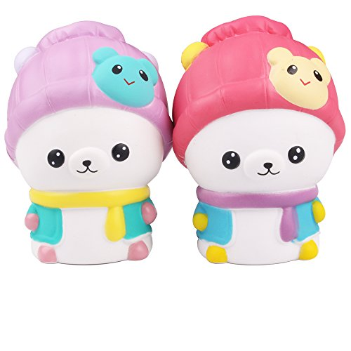 AIKEMI 2PC Easter Squishies Cartoon Bear Squishy Slow Rising Scented Squeeze Stress Relief Gifts (mix) -