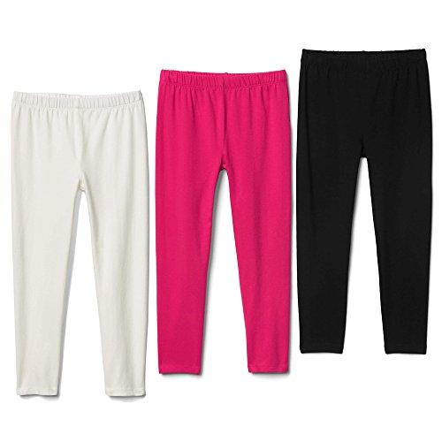 Bear Mall Toddler Girls Leggings 3 Pack Full Length Cotton Leggings For School or Play (3T/Toddler Girl, - Place Mall Fashion