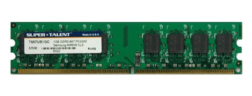 Super Talent DDR2-667 1GB/64x8 Memory T667UB1GC, Bulk -