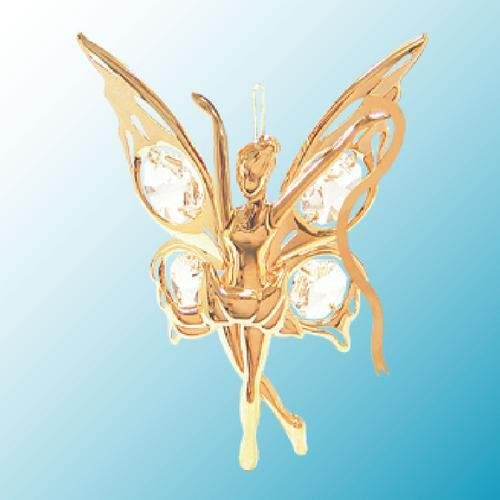 24K Gold Plated Hanging Sun Catcher or Ornament..... Fairy holding a Ribbon with Clear Swarovski Austrian Crystal