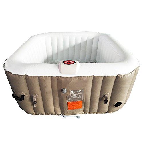 ALEKO HTISQ4BR Square Inflatable Portable Hot Tub Personal Spa 4 Person 160 Gallon Brown