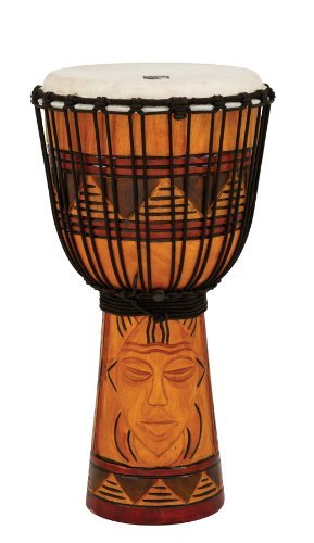 Toca TODJ-10TM Origins Series Rope Tuned Wood 10-Inch Djembe - Tribal Mask ()