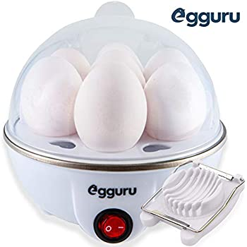Egguru Electric Egg Cooker Boiler Maker Soft, Medium or Hard Boil, 7 Egg Capacity noise free technology Automatic Shut Off, white with egg slicer included