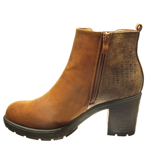 serpent plateforme femme haut Talon léopard peau Camel de Chaussure boots 6 5 Angkorly Bottine chelsea Mode montante CM bloc wRABxqXv1H