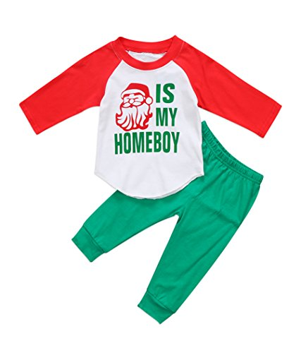 Urkutoba Xmas Kids Little Boys Girls Long Sleeve Santa is My Homeboy Christmas Shirt+Solid Color Long Pants Outfit (4-5 Years, Green)
