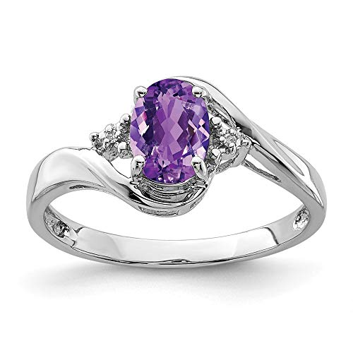 925 Sterling Silver Diamond Purple Amethyst Oval Band Ring Size 6.00 Gemstone Fine Jewelry Gifts For Women For Her