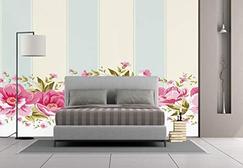Large Wall Mural Sticker [ Vintage,Pink Peony Border on Vertical Striped Tile Bridal Wedding Design,Coconut Light Blue Light Pink ] Self-Adhesive Vinyl Wallpaper/Removable Modern Decorating Wall Art ()