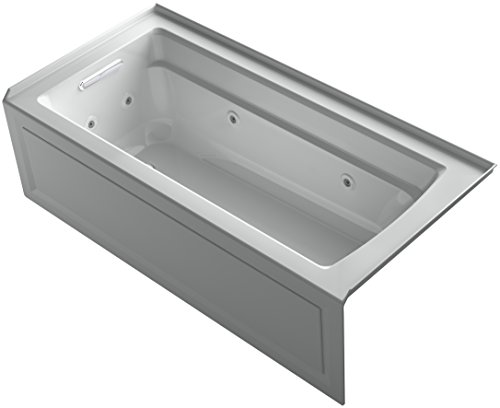 KOHLER K-1949-HLA-95 Archer Exocyclic 66-Inch x 32-Inch Alcove Whirlpool Bath with Integral Apron, Tile Flange, Heater and Left-Hand Drain, Ice Grey ()