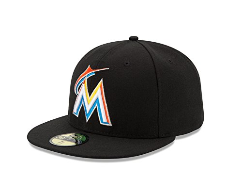 Home 59fifty Hats (MLB Miami Marlins Home AC On Field 59Fifty Fitted Cap, Black, 7)