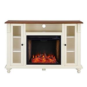 SEI Furniture Carlinville Media Stand Alexa-Enabled Smart Storage Fireplace, Antique White/Walnut