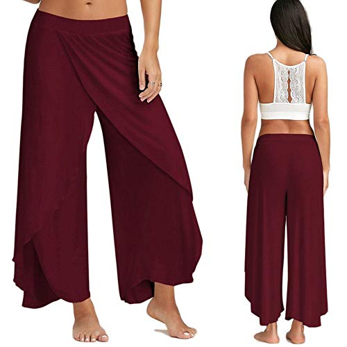 Larghi Chic Pants Lungo Leg Pantalone con Hippie Boho Jumpsuit Spacco Trousers Gamba Yoga per Hip Sportivi Palestra da Estivo Donna Tuta Palazzo Wide Pantaloni Baggy Danza Hop Jogging Rosso Harem Pigiama CRwtqTH