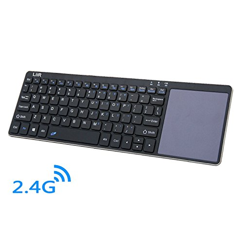 LIIR Wireless Keyboard with Multi Touchpad,Touch Keyboard for Windows, Linux /Android IOS Tablet PC/ Galaxy Tabs& Smart Phone (2.4G black) no battery by LiiR