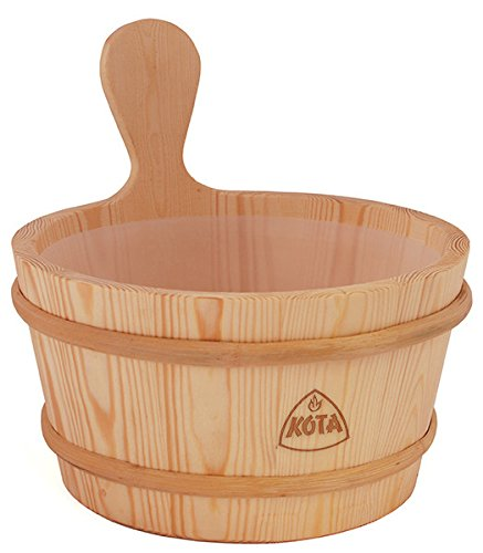 Kota Wooden Sauna Bucket/Pail 4 litre | Pine | firm handle with plastic insert Narvi Oy