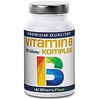 Vitamin B Komplex Hochdosiert - Der VERGLEICHSSIEGER 2018* - 200 Tabletten - Alle 8 B-Vitamine in einer Tablette Ohne Magnesiumstearate - B1 B2 B3 B5 B6 B7 (Biotin) B9 (Folsäure) und B12 - Über 6 Monte Vitamin-B von GloryFeel