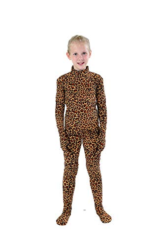 Full Bodysuit Kids Dancewear Solid Color Lycra Spandex Zentai Child Unitard (Medium, Leopard) -