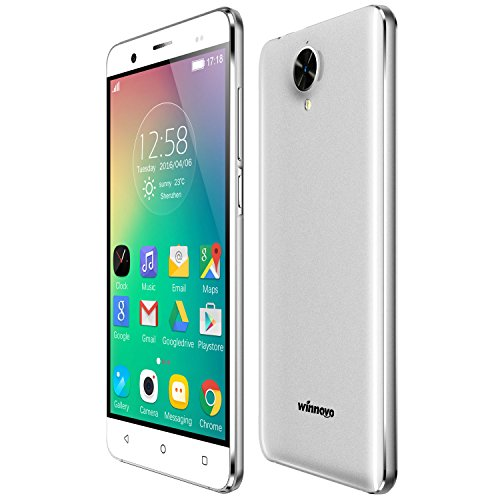Winnovo K54 4g Smartphone 5,0 Zoll Android 5.1 Handy simlockfrei ohne Vertrag (Dual-SIM, Quad-Core, HD IPS 1280 * 720 Touchscreen, 8GB ROM, 8MP2MP Dual Kameras, GPS, WiFi, Intelligente Geste, Metallrahmen) Weiß