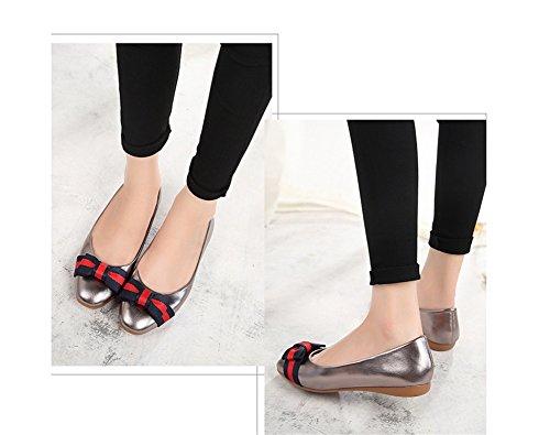 35 Cabeza Primavera Verano Femeninos De Zapatos Arco Nvxie Mujer Gray Y Suela Redonda 38 Suave Trenzado Individuales Plano Bq4fxvZ