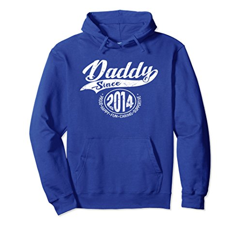 Unisex Daddy Since 2014 Father's Day Gift Dad Men Hoodie Large Royal - Father Day 2014 Gifts