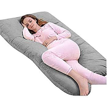 Meiz U Shaped Body Maternity Pregnancy Pillow with Zipper Removable Velvet Cover ( Gray)
