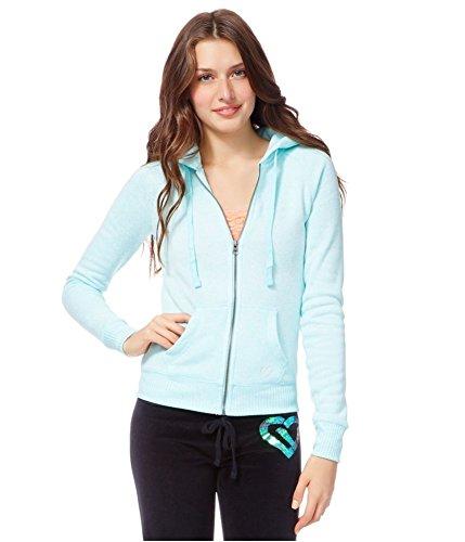 Aeropostale Womens Heathered Fleece Hoodie Sweatshirt, Green, ()